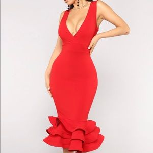 """Fashion Nova """"Dates With Red Ruffles Dress"""" in Red"""